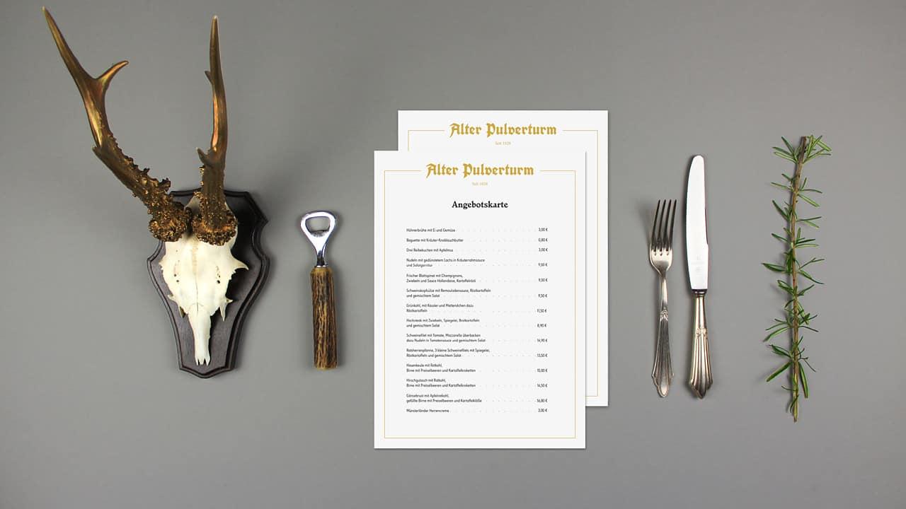 Gestaltung von Speisekarten für eine Gaststätte in Münster