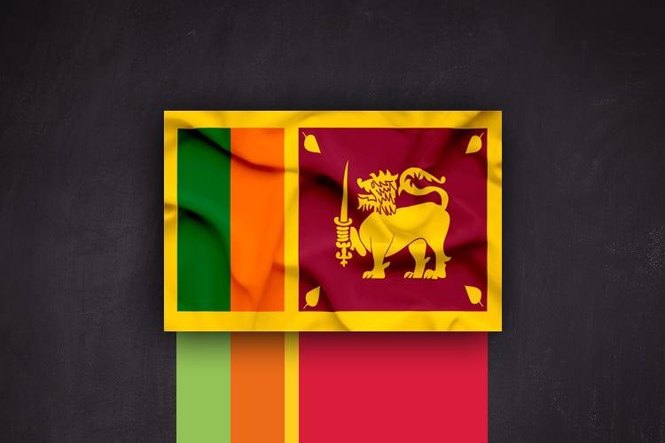 Abbildung der Flagge Sri Lankas die zur Farbauswahl für die Gestaltung einer Bestellkarte für einen Lieferservice diente.