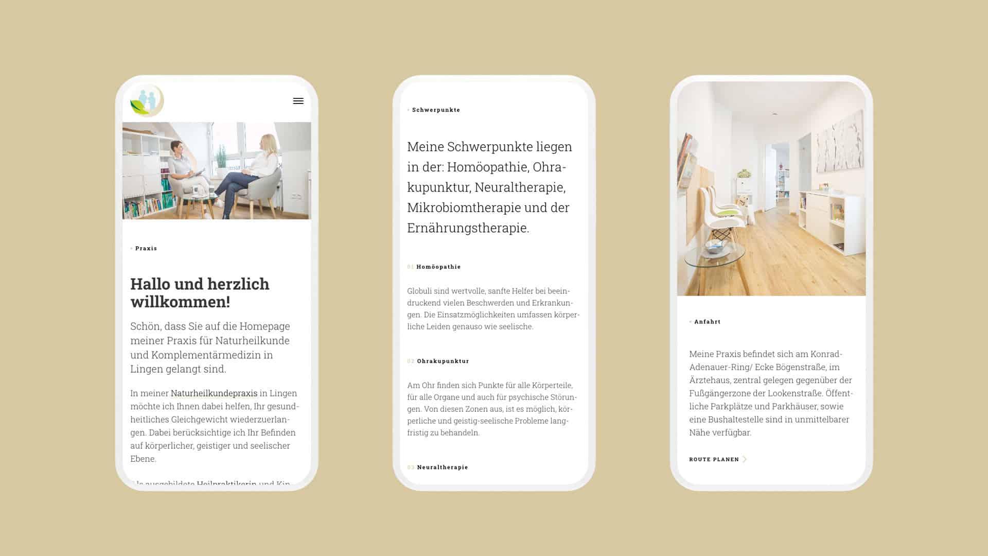 Webdesign und Umsetzung einer responsiven Website für eine Naturheilkundepraxis aus Lingen