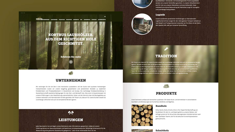 Neues Webdesign für die Website von Kortbus Laubhölzer