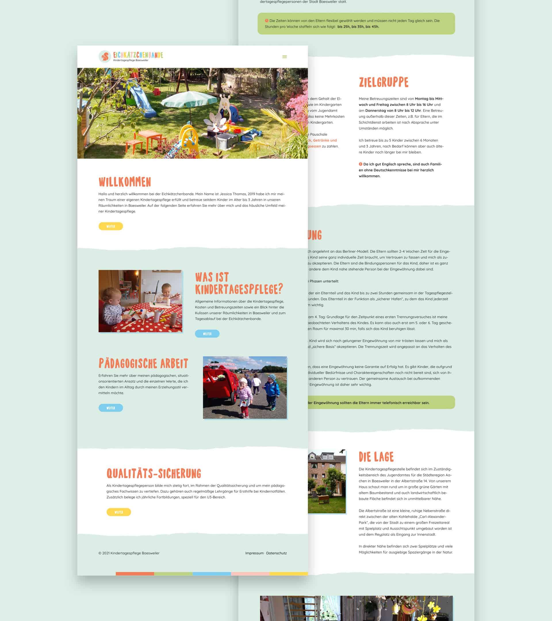 Webdesign aus Münster für eine KITA Eichkätzchenbande aus Aachen