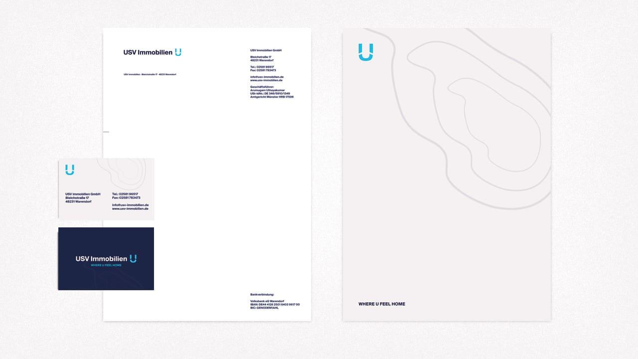 Visitenkarten und Briefpapier für USV Immobilien aus Warendorf