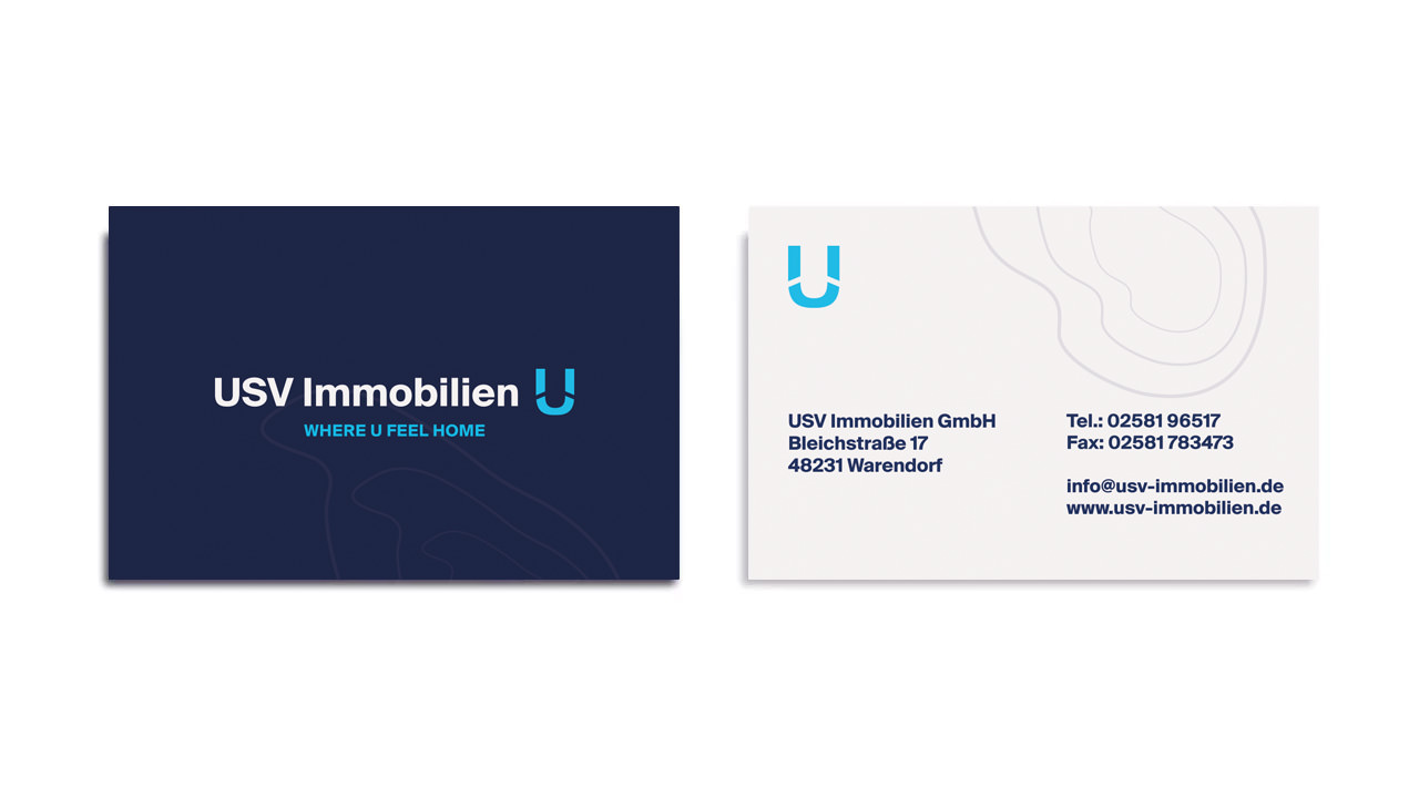 Webdesign und Visitenkarten für USV Immobilien aus Warendorf